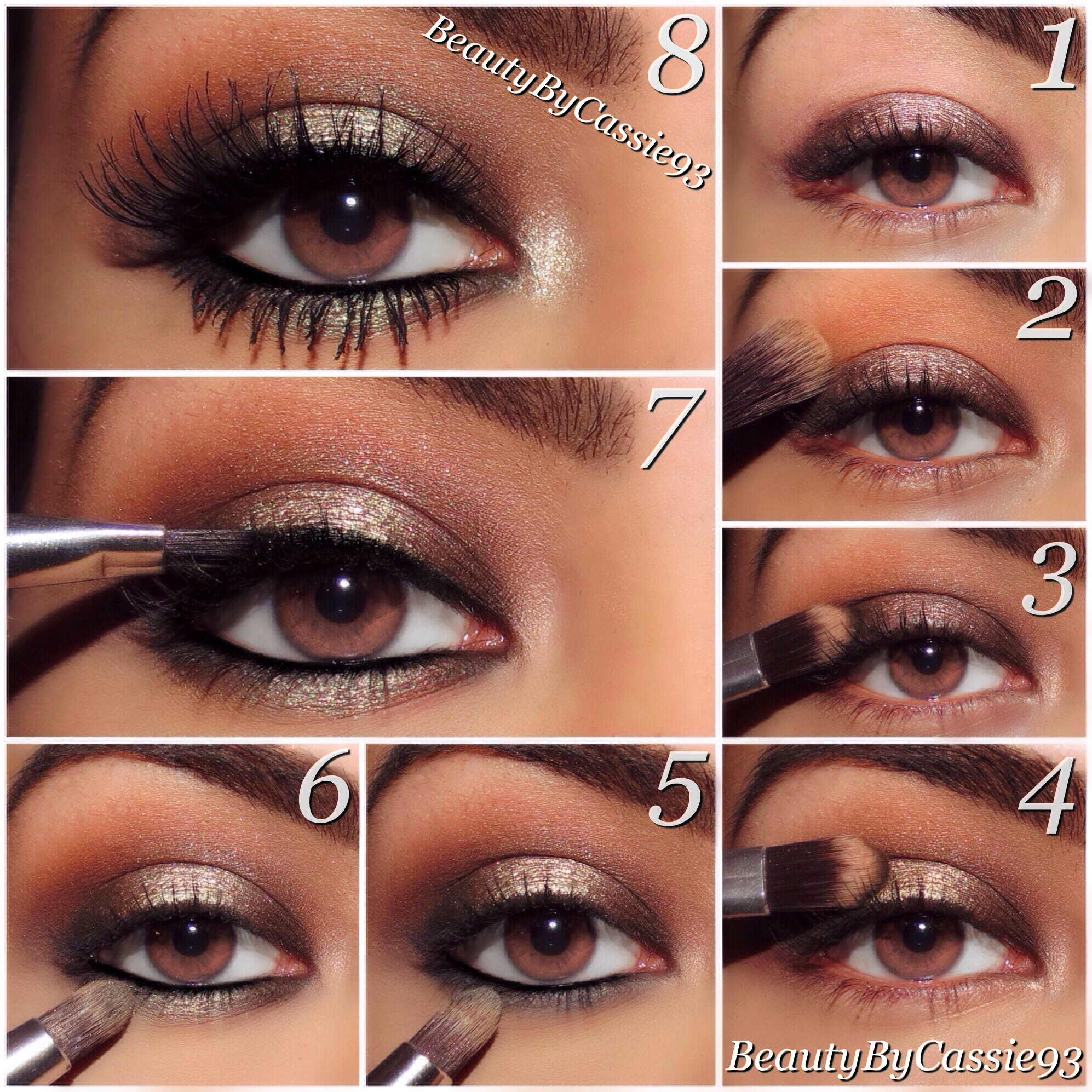 Tutorial smokey bronze eyes beauty by cassie later line the upper lash line with pure glam from the too faced palette next apply jordana best lash extreme mascara and ardell demi wispies baditri Image collections