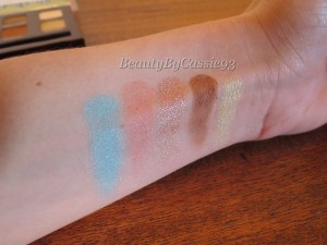 (No flash) From left to right: Aqua, Fresh Peach, Glisten, Caramel, and Gold Bar