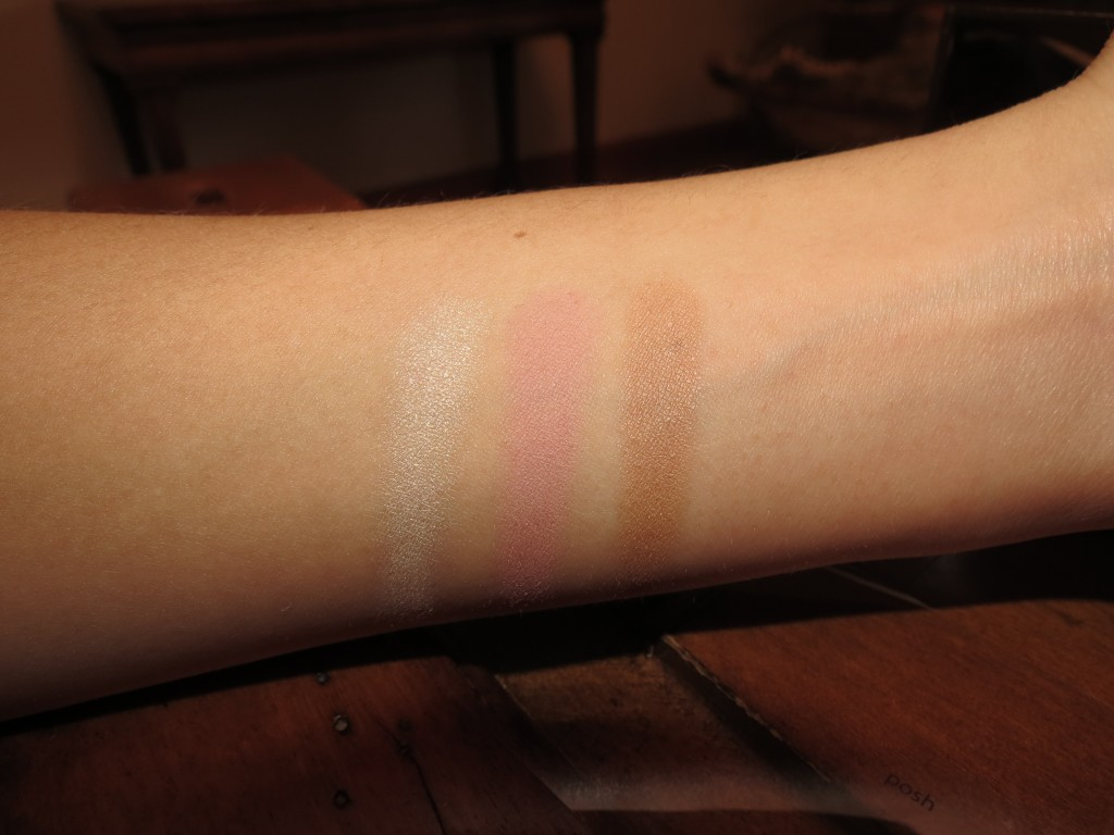Swatches from left to right: Champagne gold, Posh, and Park Ave. Princess (Taken with flash)